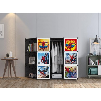 [ETA 20/4] KCJ NEW SPIDERMAN BLACK CR 9C DIY Rack Storage Cabinet Wardrobe Corner Rack With Almari Hanger (NS9CB)