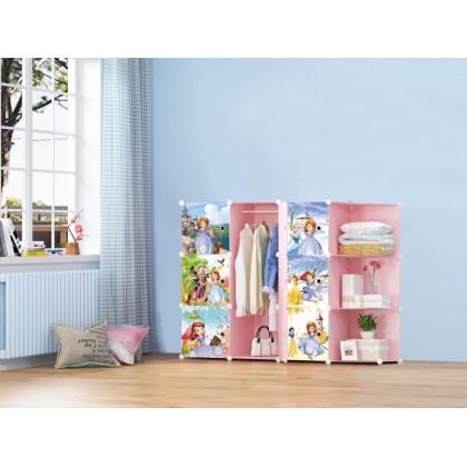 KCJ NEW SOFIA PINK CR 9C DIY Rack Storage Cabinet Wardrobe Corner Rack With Almari Hanger (SA9CP)