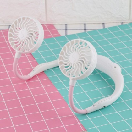 KCJ Hands free Lazy Neck Band Hanging USB Rechargeable Sports Dual Fan Mini Air Cooler