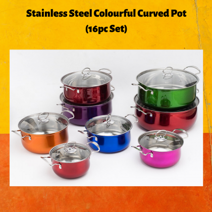KCJ High-Quality Cookware Stainless Steel Colourful Curved Soup Stock Pot (16pcs)