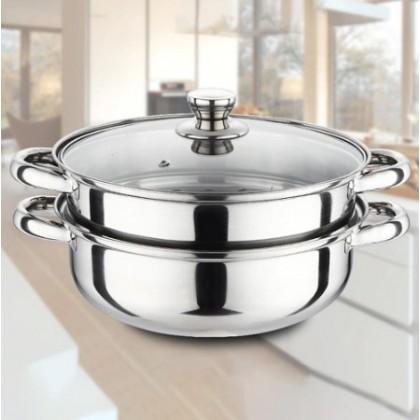 [READY STOK] KCJ Steam Pot 2 Layer High Quality Stainless Steel Pengukus Steamer Cookware Pot Periuk Kukus