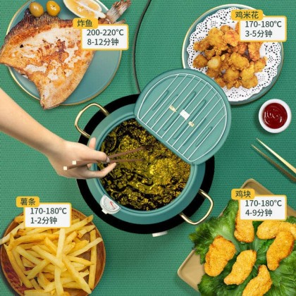 Japanese Tempura Deep Fryer Cooker 304 with Thermometer Pan Temperature Control Fried Chicken Pot