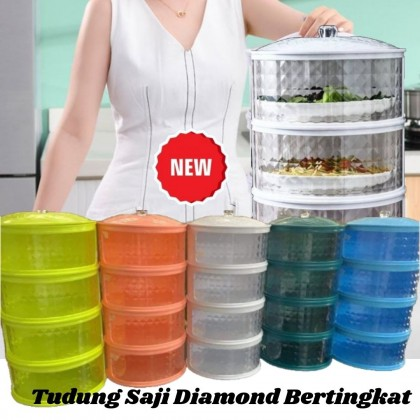 NEW Diamond Design!! Stackable Food Cover Tudung Saji Viral 4 Tingkat Insulation Food cover