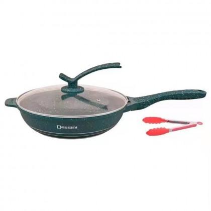 NEW DESSINI 3pc Set 28cm Granite Set Non Stick Frying Pan FREE Penyepit Cookware Premium Casserole Granite Set Kitchenware Dropship