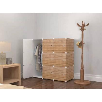 [READY STOK] KCJ LINE BROWN 9C DIY Rack Storage Cabinet Wardrobe With Almari Hanger (LB9)