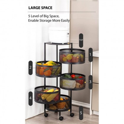 [Ready Stock] KCJ Multipurpose 4/5 Tier Kitchen Storage Rack with Rotating Basket and Detachable Wheel