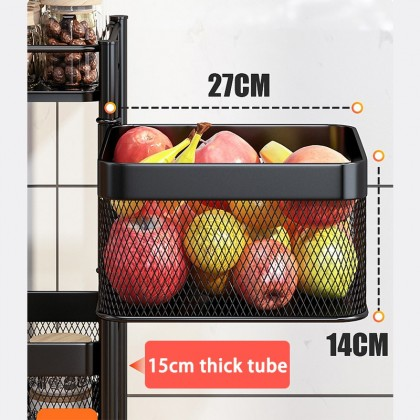 [Ready Stock] KCJ Multipurpose 4/5 Tier Square Kitchen Storage Rack with Rotating Basket and Detachable Wheel