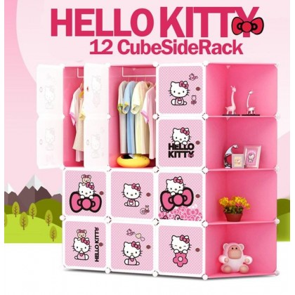 [READY STOK] KCJ HELLO KITTY 12C DIY Rack Storage Cabinet Wardrobe Corner Rack With Almari Hanger (KT12CR)
