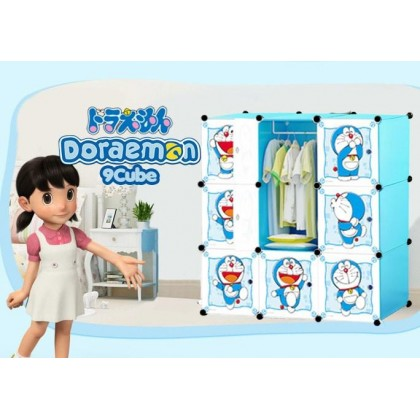 KCJ DORAEMON 9C DIY Rack Storage Cabinet Wardrobe With Almari Hanger (DR9)
