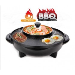 KCJ 36cm(L size) 2IN1 Electric Korean BBQ Grill Pan With Shabu Shabu BBQ Steamboat Hot Pot Frying Pan