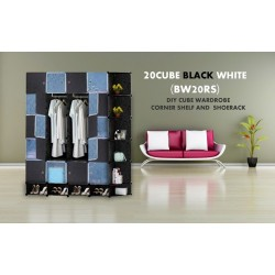 Black White 20C DIY Cube w CornerRack & Shoerack (BW20RS)