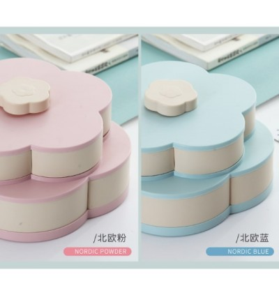 (ETA 15/5) Double Layer Plastic Floral Rotator Plate Candy Box Snack Storage