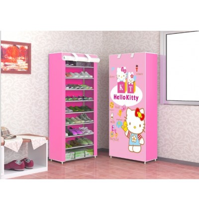 KCJ Multifunction Cartoon 10 Tier Shoe Rack Dust Proof Cloth Shoes Cabinet Storage Rack
