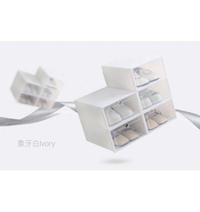 KCJ Stackable Shoes Box Foldable Shoes Rack Attachable Storage Box Organizer Casing