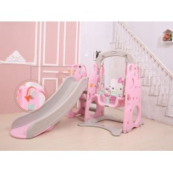 KCJ 3 In 1 Cute Hello Kitty Basketball Swing Slide Indoor Mini Playground